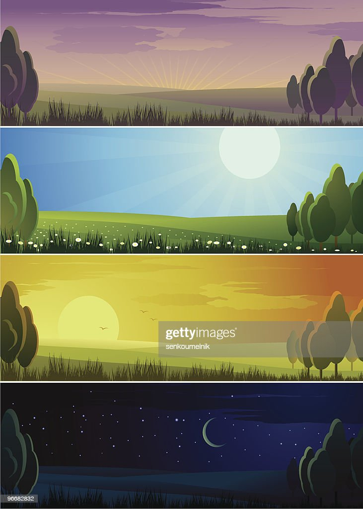 Banners showing day sequence - morning, noon, evening and night