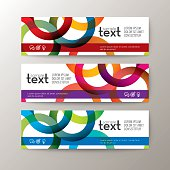 banners template with abstract circle ring pattern on white background