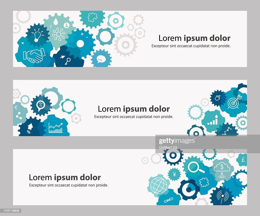 Banners With Blue Gears And Business Icons