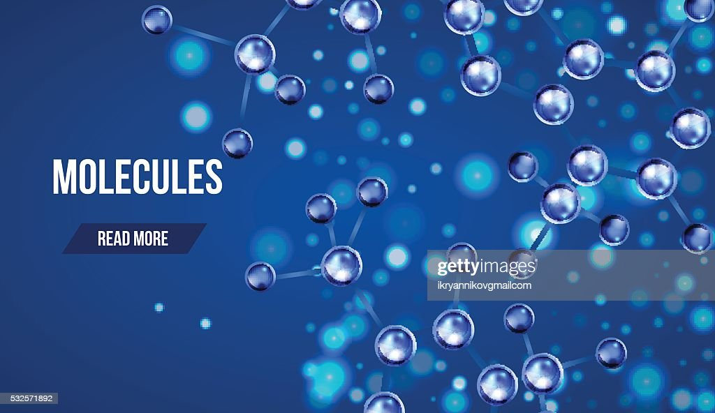 Banners with blue molecules design.