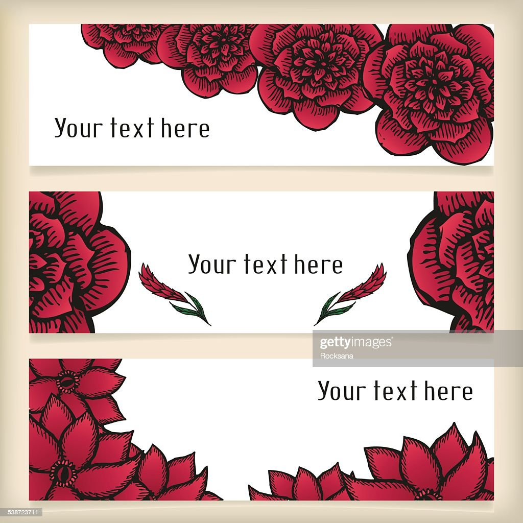 Banners with doodling flowers like roses in tattoo style