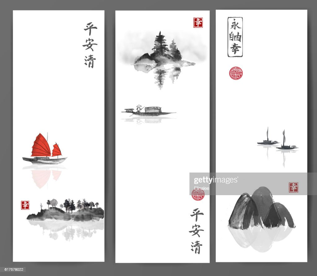 Banners with fishing boats and islands on white background. Traditional