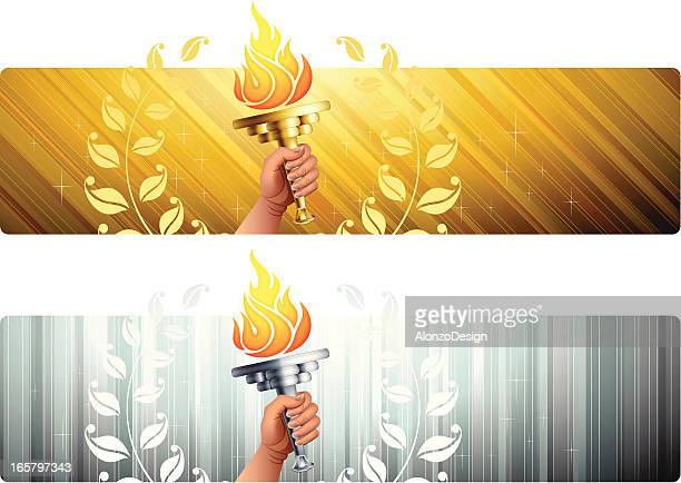 banners with flaming torches - sport torch stock illustrations, clip art, cartoons, & icons