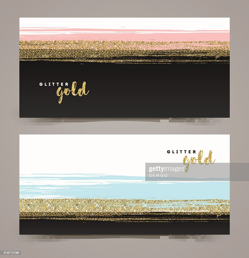 Banners with grunge glitter gold stripe, vector illustration.