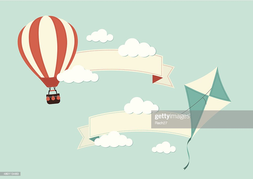 Banners with Hot Air Balloon and Kite