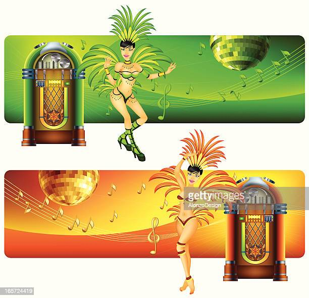 banners with jukebox and samba dancer - samba stock illustrations