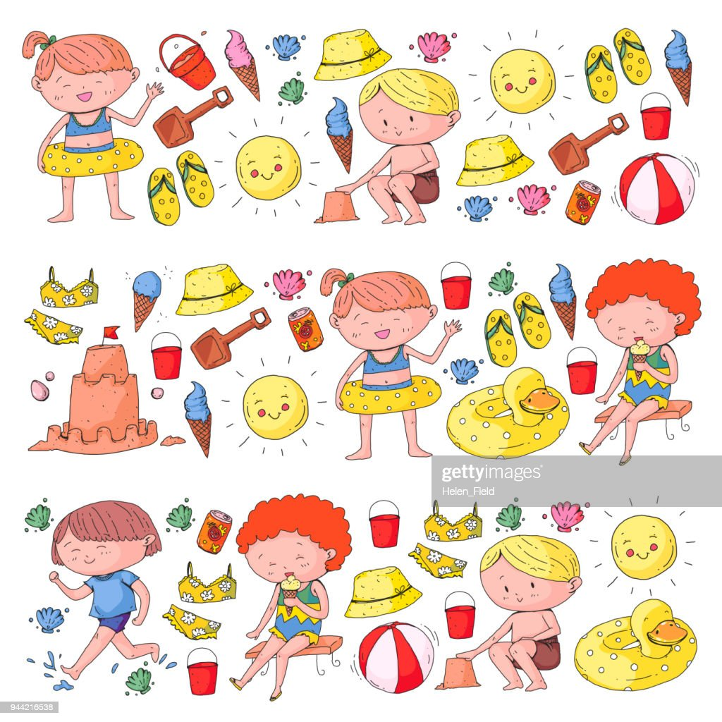 3 banners with kids on happy summer holiday. Kindergarten children. Banners, posters, doodle icons. Beach, travel adventures