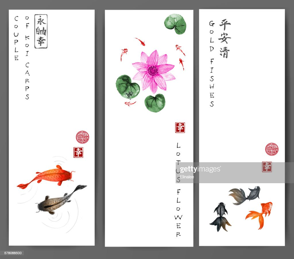 Banners with koi carps, gold fishes and lotus flower