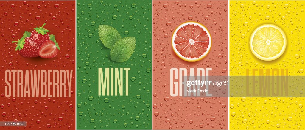 Banners with lemon, grapefruit, strawberry, mint leaf and many juice drops