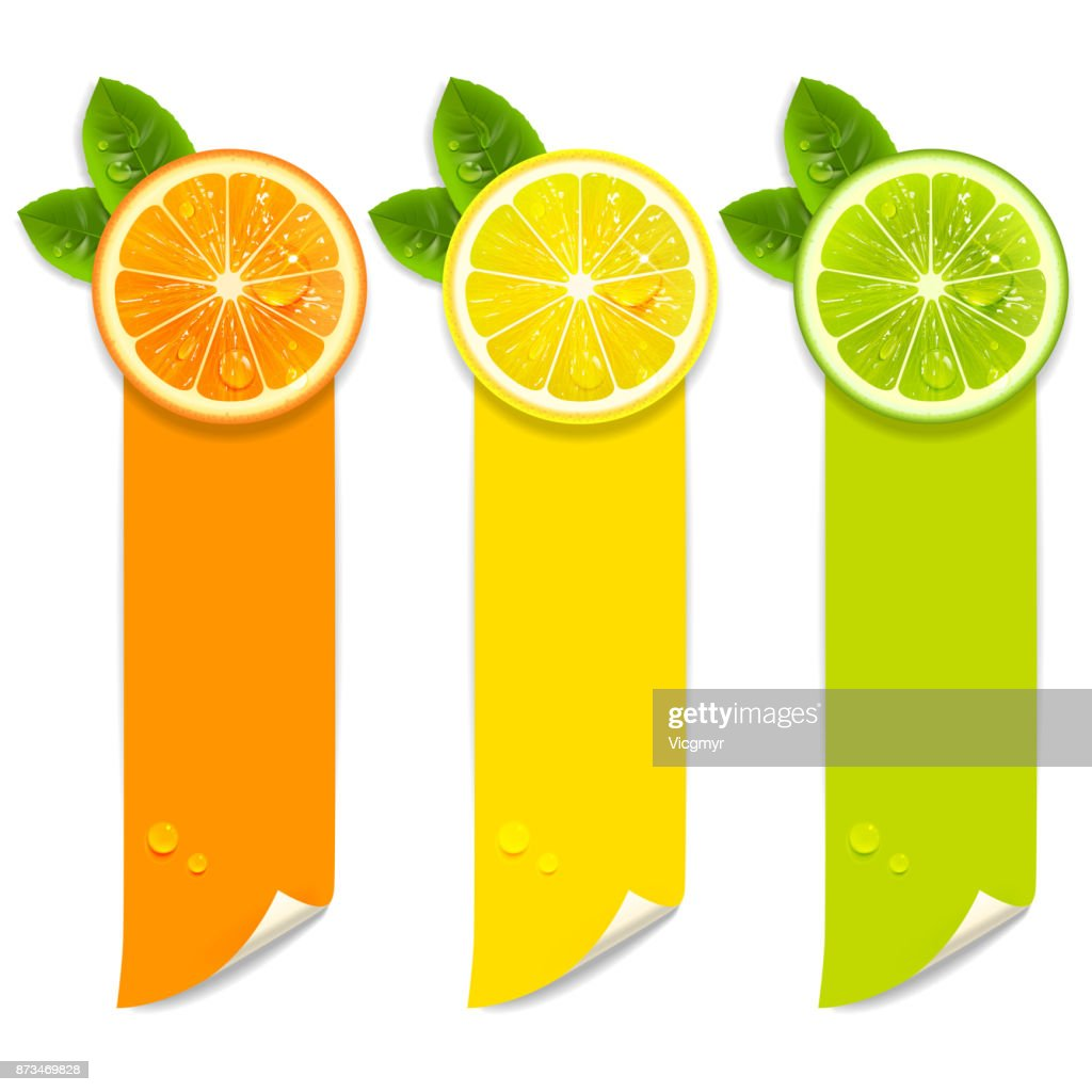 Banners with Orange, Lemon and Lime