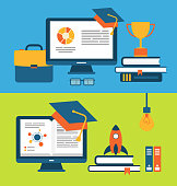 Banners with Set of Flat Concept Icons for Education
