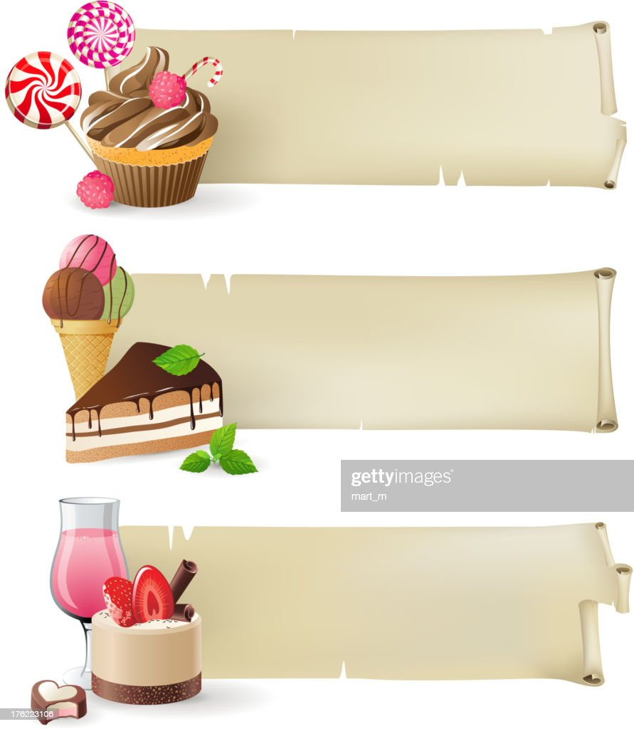 Banners with sweets and candies