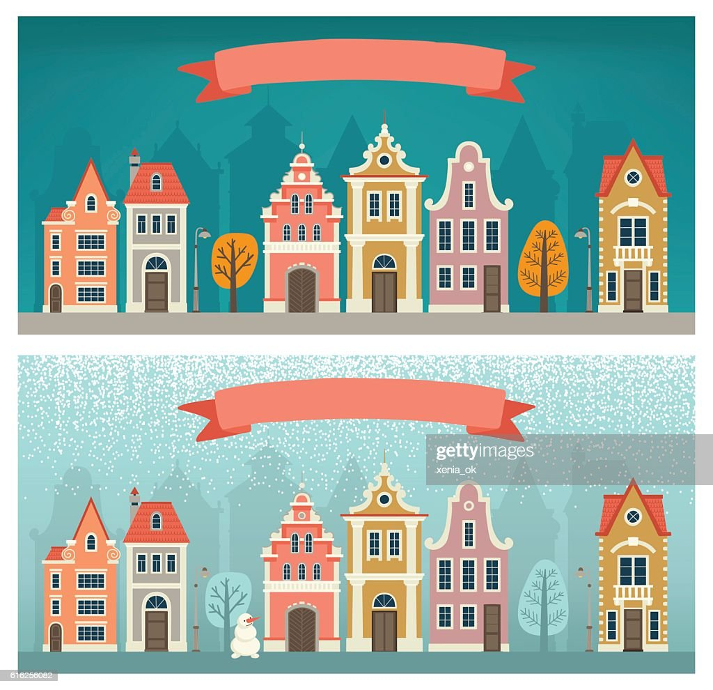banners with the cityscape : Vector Art