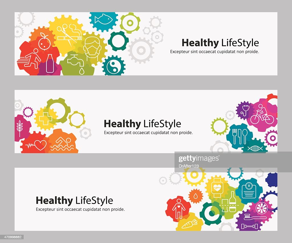 Banners With Vibrant Gears And Healthy Lifestyle Icons : stock illustration