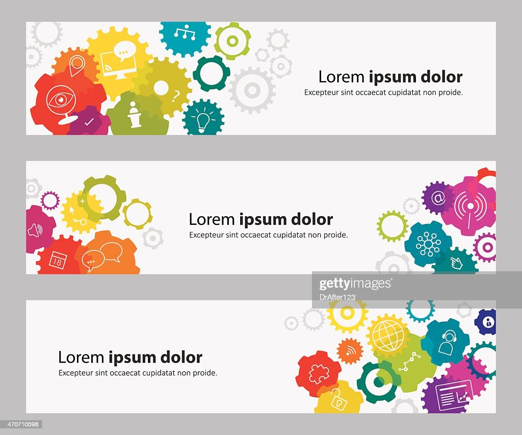 Banners With Vibrant Gears And Webinar Related Icons : stock illustration