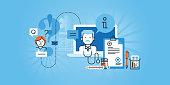 + PURE BannersFlat line design website banner of online medical services