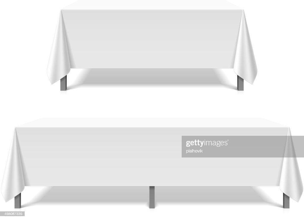 Banquet tables covered with white tablecloth