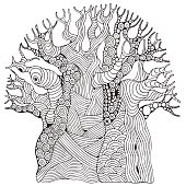 Baobab tree. African tree. Coloring book page