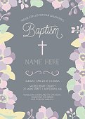 Baptism, Christening, First Holy Communion Invitation Template - Vector