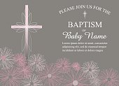 Baptism, Christening Invitation Template with Daisies and Cross