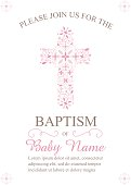 Baptism, Christening Invitation Template with Ornate Cross