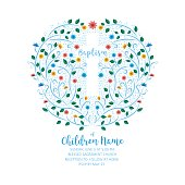 Baptism, Christening Invite - Invitation Template with Cross and Flowers.