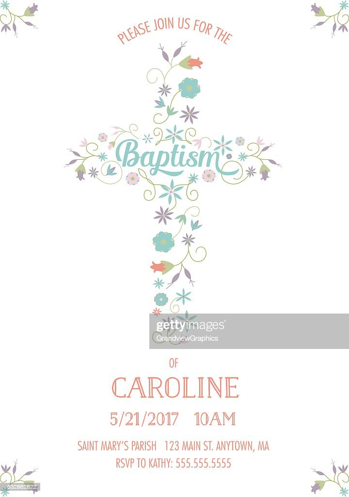 Baptism, Christening, Religious Occasion Invite - Invitation Template - Cross, Flowers