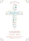 Baptism, Christening, Religious Occasion Invite - Invitation Template - Cross, Flowers