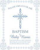 Baptism Invitation Template with Ornate Cross and Border