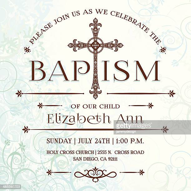 illustrazioni stock, clip art, cartoni animati e icone di tendenza di invito battesimo - cattolicesimo