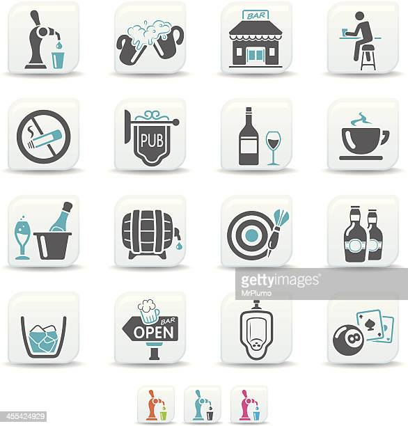 bar and pub icons | simicoso collection - ice bucket stock illustrations, clip art, cartoons, & icons