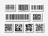 bar and qr code sticker set