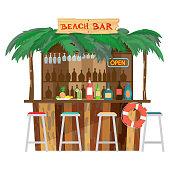 Bar bungalows on the beach ocean coast