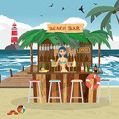 Bar bungalows with bartender woman on the beach ocean coast