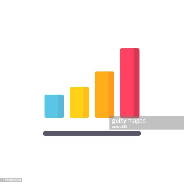 bar chart flat icon. pixel perfect. für mobile und web. - balkendiagramm stock-grafiken, -clipart, -cartoons und -symbole