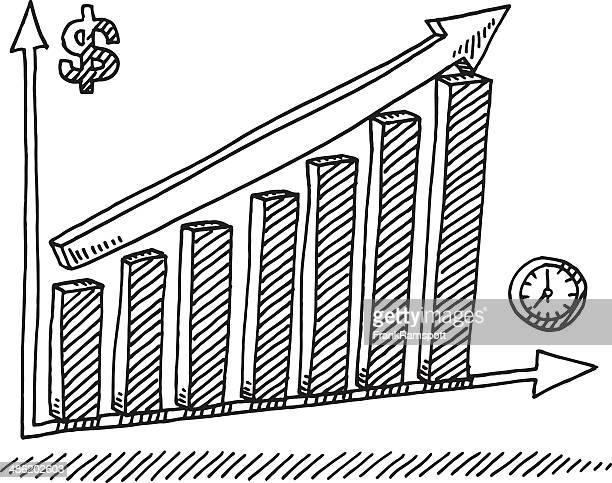 bar-chart erfolg zeit geld zeichnung - börsenkurs stock-grafiken, -clipart, -cartoons und -symbole