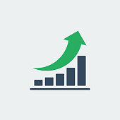 bar chart with rounded green up arrow, vector icon or pictogram