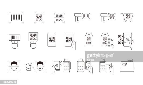 illustrations, cliparts, dessins animés et icônes de code à barres, code qr et icône de ligne de balayage de visage - code barre