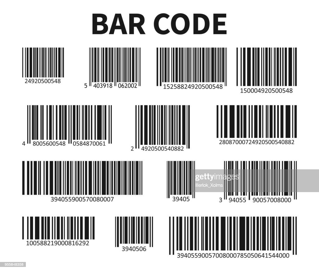 Bar Code Set Vector. Universal Product Scan Code.