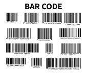 Bar Code Set Vector. Universal Product Scan Code.
