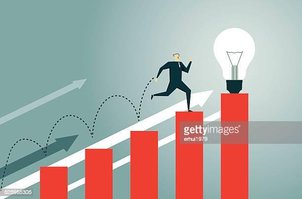bar graph, jumping, breaking new ground, stock market, success - high jump stock illustrations