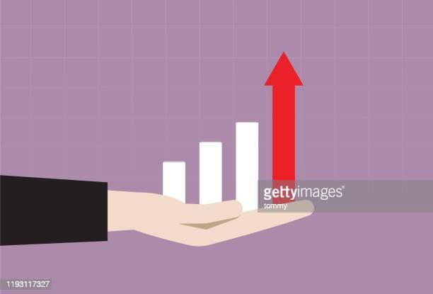 ビジネスハンドの棒グラフ - 情報伝達サイン点のイラスト素材/クリップアート素材/マンガ素材/アイコン素材