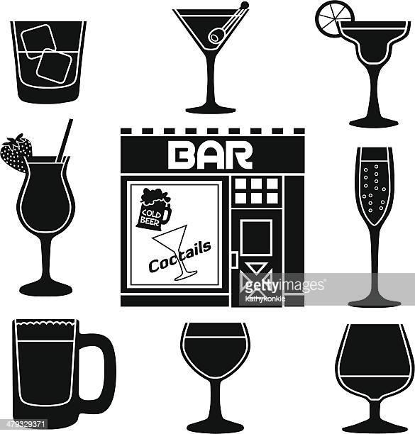 bar icons - margarita stock illustrations, clip art, cartoons, & icons