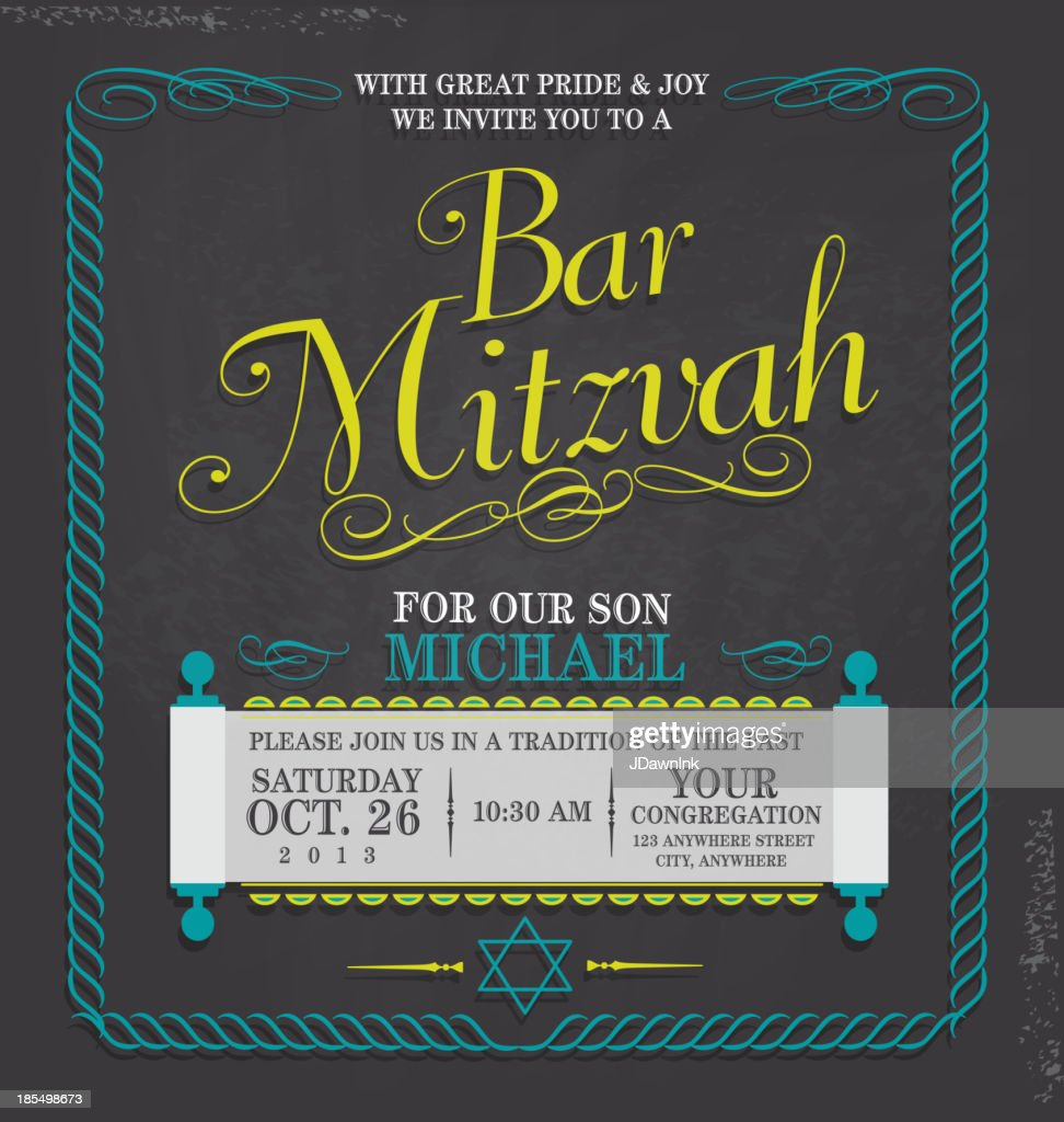 bar mitzvah invitation design template chalkboard vector art getty