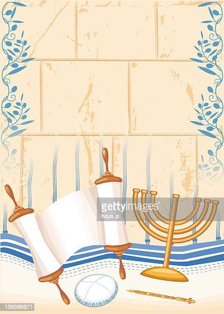 bar mizvah or jewish full age symbols - wailing wall stock illustrations, clip art, cartoons, & icons
