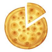 Bar pizza top view. Cartoon vector food