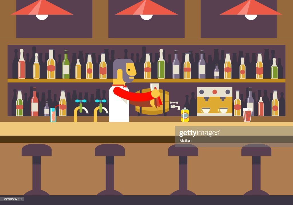 Bar Restaurant Cafe with Barkeeper Character Symbol Alcohol House Interior