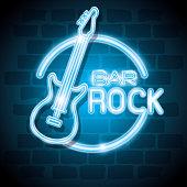 bar rock music neon label