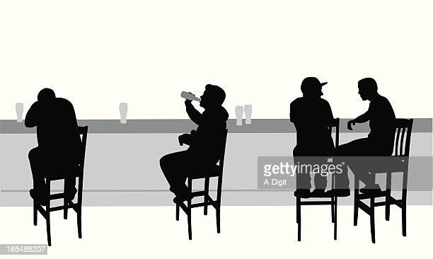 bar scene vector silhouette - stool stock illustrations, clip art, cartoons, & icons