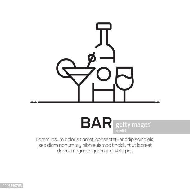 bar vector line icon - simple thin line icon, premium quality design element - whiskey stock illustrations
